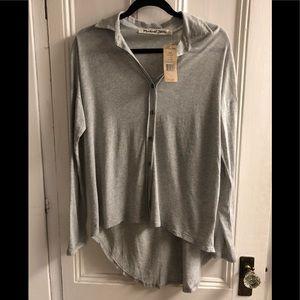 Michael Stars luxe slub high low btn dwn shirt
